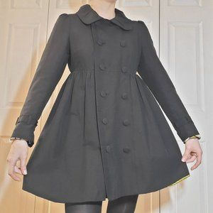 Black babydoll cinched pleated pea coat dress